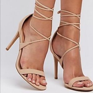 Justfab nude lace up heels size 5.5